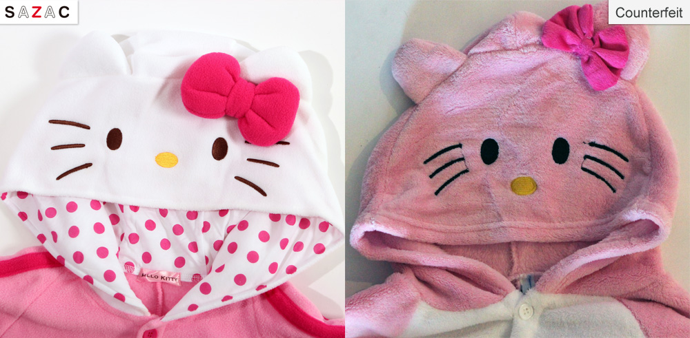 Official SAZAC Hello Kitty Kigurumi vs Counterfeit Hello Kitty Kigurumi
